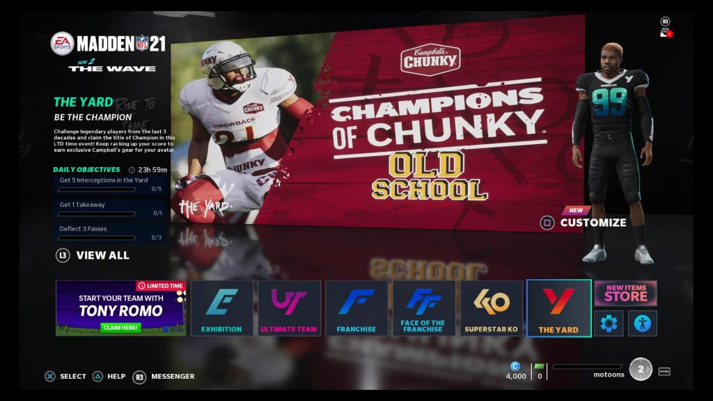 "Madden NFL 21 - Champions of Chunky ""Old School"" Challenge Entry Screen (Console)"
